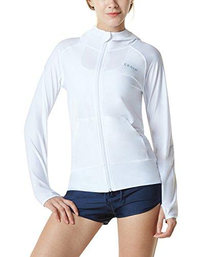 (TSLA Women's UPF 50+ Full & Half Zip Front Long Sleeve Top Rashguard Swimsuit, Sun Block Zip Hoodie(fsz02) - White, Medium)