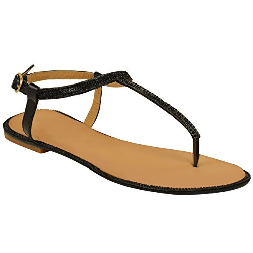 Fashion Thirsty Womens Flats Toe Post Diamante Sandals Ankle Strap T-Bar Shoes Size Black Patent rCQGlfmy