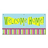 Graphics and More Welcome Home Colorful - Party Celebration Sign Banner - 46'' (width) X 22'' (height)