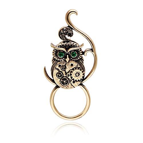 CHUACHUANGYUN Antique Gold Green Eye Gear Belly Owl Punk Brooch Pins Strong Magnetic Eyeglass Holder