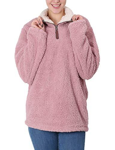 Fleece Sherpa Pullover Womens Sweatshirt Long Sleeve Soft Fuzzy Outwear Sweater Jacket 1/4 Zip Hoodie Coat with Pockets Pink ()