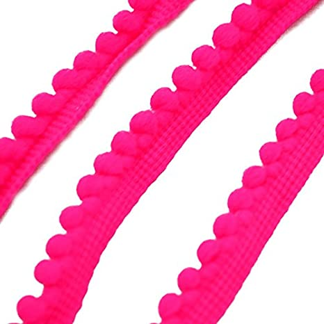 red 5 Yard Lace Trim Ribbon Pompom Lace Fabric Ball Braid Lace Fringe Ribbons DIY Material Craft Apparel Sewing Accessories