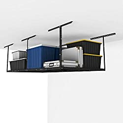 "FLEXIMOUNTS 4x8 Overhead Garage Storage Rack Adjustable Ceiling Garage Rack Heavy Duty, 96"" Length x 48"" Width x (22''-40"" Ceiling Dropdown), Black (Two-Color Options)"