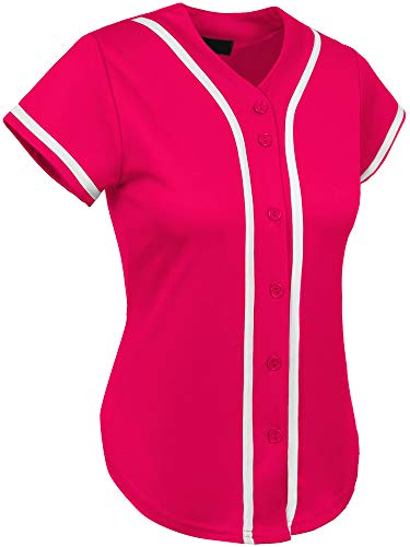 Jersey Womens Pink T-shirt - Hat and Beyond Womens Baseball Button Down Tee Short Sleeve Softball Jersey Active T Shirts (Large, 3up01 Hot Pink/White)