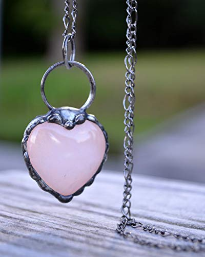 Handmade Heart Shaped Jewelry Rose Quartz Gemstone Necklaces for Women Gift Ideas 2799f - Handmade Artisan Gemstone Jewelry
