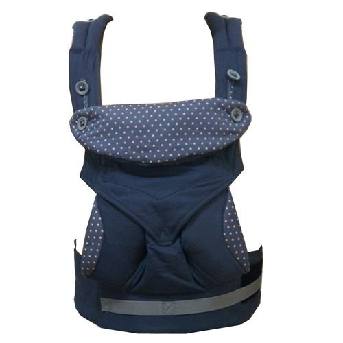 KatyLand Baby Carrier Backpack 360 - 4 Ergonomic Carry Positions - 100% Organic Cotton Machine Washable - Baby Sling Carrier adjustable with Sleeping Hood Blue