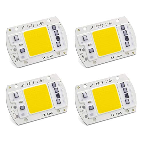 50W COB LED Chip, CANAGROW 4 Pack Full Spectrum LED Chip for Plant Grow Light (380nm-780nm / AC 110V / 3000K), Integrated Smart IC Driver