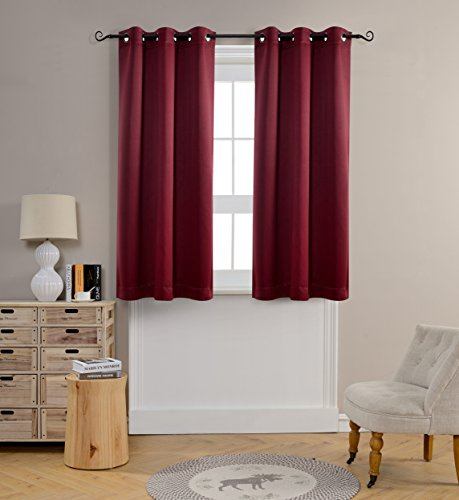 Mysky Home Grommet top Thermal Insulated Window Blackout Curtains for Dining Room, 42 by 63 inch, Burgundy (1 panel) (Curtains For Dining Room Windows)