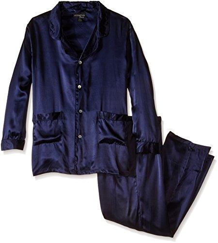 Intimo Men's Classic Silk Pajama Set, Navy, XX-Large