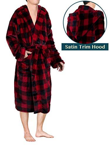 Premium Men Plaid Fleece Robe with Hood | Luxurious Soft Plush Spa Bath Robe