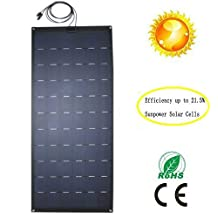 GreeSonic SunPower Semi Flexible Solar Panel 150W (ETFE+Fiberglass) Photovoltaic Solar Panel (Corrosion-resistant) with MC4 connectors