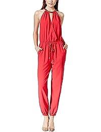 Juniors' Embellished Surplice Jumpsuit Red Rose Size S …