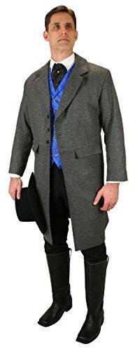 19th Century Shirts - Historical Emporium Men's Emerson Herringbone Tweed Frock Coat 50 Gray