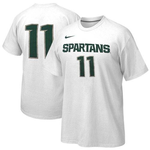 Michigan State Spartans Replica Football Jersey (Nike Michigan State Spartans #11 Hoops Replica Basketball T-Shirt -White (XXL))