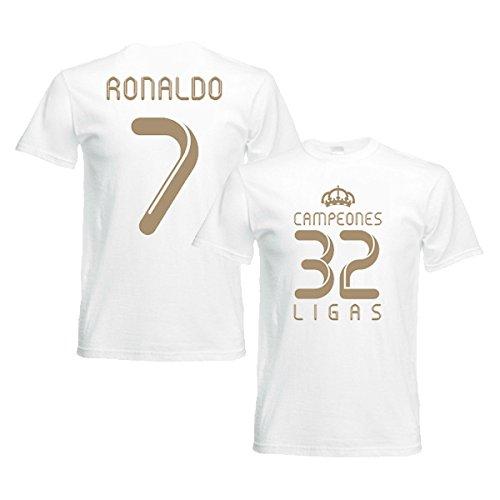 有名人スペース真珠のような2012 Real Madrid Champions T-Shirt (White) - Ronaldo 7