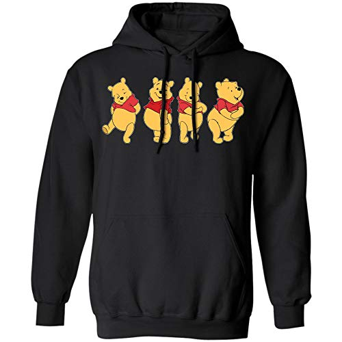 Vintage Winnie The Pooh T-Shirt Street Wear Cartoon Animation Top Tee (Hoodie;Black;M)]()