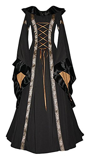 Misassy Womens Medieval Renaissance Lace Up Retro Gown Cosplay Costumes Long -