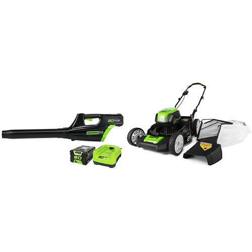 GreenWorks Pro 80V 500CFM Cordless Jet Blower + Lawn Mower w/ (1) 2Ah Battery & Charger by Greenworks