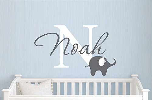 Customer-made Custom Elephant Name Wall Sticker Decal for Boys -Decor - Nursery Removable Wall Decals -You Choose Name and Color-5555 (Boy Nursery Wall Decals compare prices)