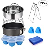 Instant Pot Accessories Set (7 Pieces)-Fits 5,6,8 Quart Inculde Steamer Basket Springform Pan Egg Rack Egg Bites Mold Plate Gripper Silicon Mitts Cleaning Cloth Free Recipes eBook by Superlife Coco