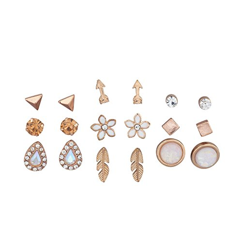 Lux Accessories Rose Gold Novelty Flower Arrow Stone Geo Multi Earring Set 9Pcs