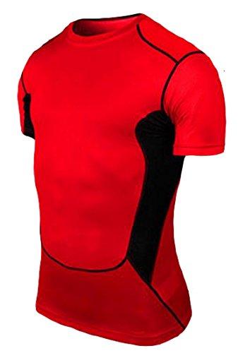 枯渇与える促進するH & Eメンズクイックドライ圧縮ベースレイヤーUnderlayer Mockスポーツフィットネスランニングバスケットボール半袖Tシャツ