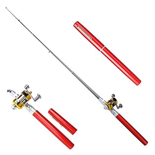 Sportsvoutdoors Telescopic Protable Pocket Fish Pen Carbon Fishing Rod Pole + Reel (Red)