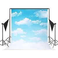 5x7 ft Cotton Photoraphy Backdrop White Cloud Blue Sky Party Decoration Background