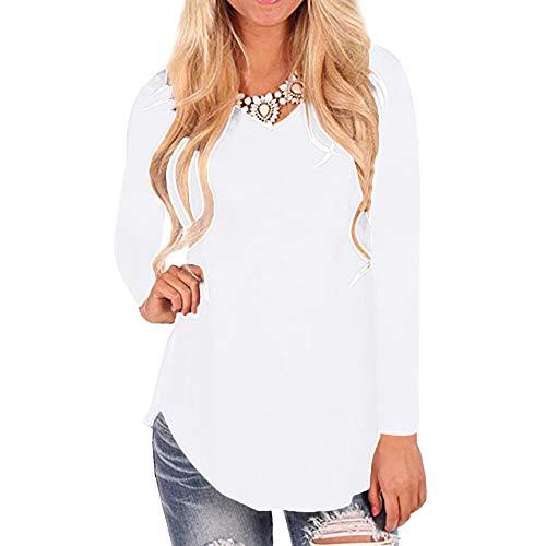 Tefamore T-Shirt Manches Longues Manches Longues et Ourlet irrgulier pour Femmes Blanc