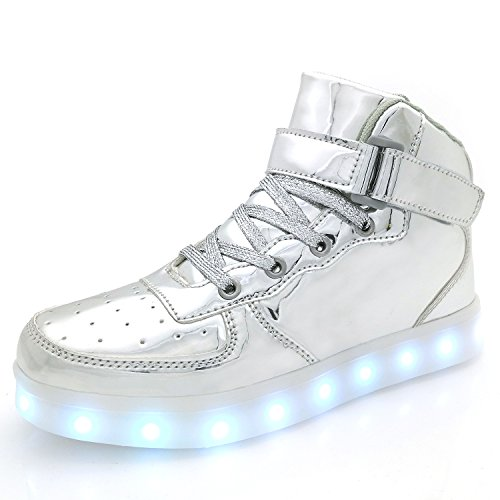 APTESOL Kids Youth LED Light Up Sneakers Boys Girls High Tops Cute Cool Flashing Shoes Halloween Xmas School Party Dancing Shoes, Silver, Euro 40=US 8 Youth