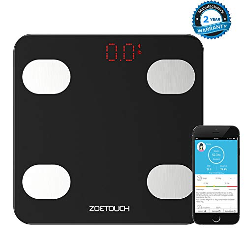 Smart Scale, Digital Bathroom Weight Scale Bluetooth Body Fat Scales Body Composition Analyzer Health Monitor App for iOS and Android, Capacity of 11-396lb