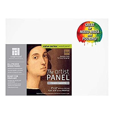 Ampersand Artist Panel Primed Smooth Surface for Painting, Pouring and Mixed-Media, 3/8 Inch Depth, 9x12 Inch (PWP9M0912)