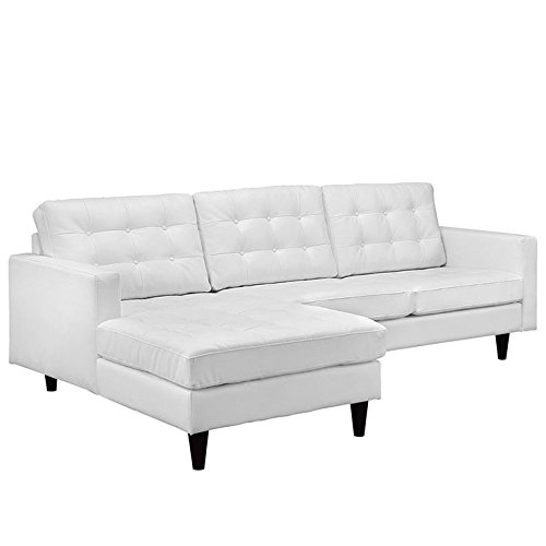 Empress Left-Facing Leather Sectional Sofa in White