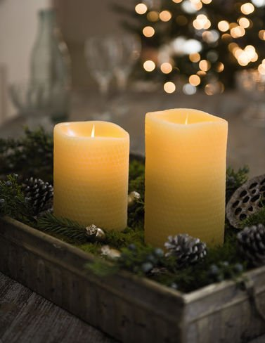 Luminara Beeswax Flameless Candle: 360 Degree Top, Unscented Moving Flame Candle with Timer (5'' Yellow) by Luminara