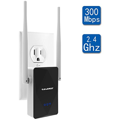 GALAWAY 300Mbps WiFi Range Extender/Wireless Repeater/Internet Signal Booster with External Antennas, Extends WiFi to Smart Home (Black)