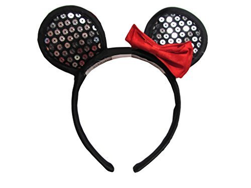 Disney Minnie Mouse Ears Baby Girl Dress Up Hairband - Silver Sequins & Red Bow ()