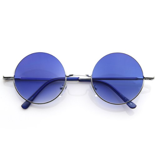 zeroUV - Lennon Style Round Circle Metal Sunglasses w/ Color Lens Tint (Silver - Contact Lenses Color Circle