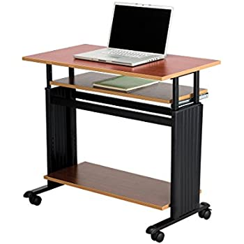 """Safco Products 1926CY Muv 29-34""""H Stand-Up Desk Adjustable Height Computer Workstation with Keyboard Shelf, Cherry"""