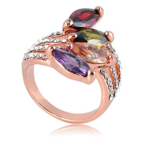 18k Gold Plated Flower Leaves Multi-color Zirconia Crystal Az0221r Ring (Sizes 8)