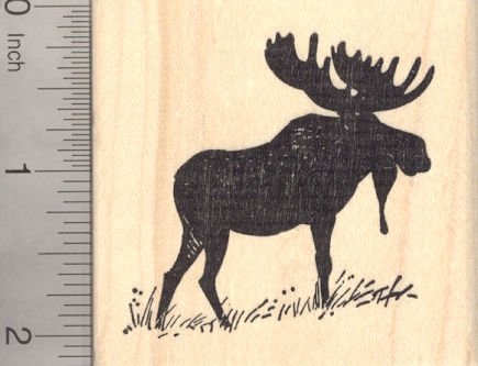 Bull Moose Silhouette Rubber Stamp