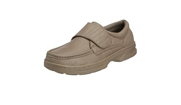 Para hombre marrón funda de piel con Dr Keller de ropa de cama de Velcro vertical vestir comodidad zapatos de forma elegante con un para oficina camiseta de ...