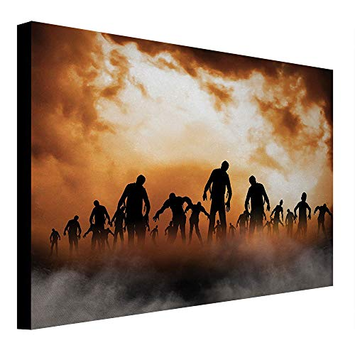 (depinshangmao Halloween Canvas Painting Zombies Dead Men Walking Body in The Doom Mist at Night Sky Haunted Theme Print Canvas Wall Art Orange Black)