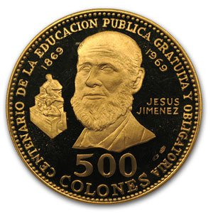 1970 CR Costa Rica Gold 500 Colones Jesus Jimenez Proof Gold About Uncirculated