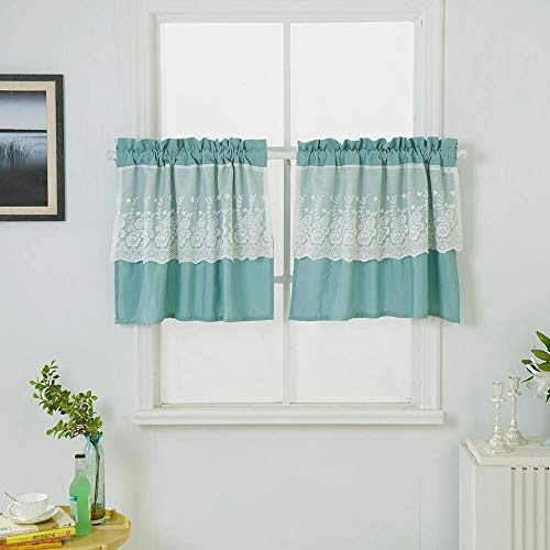 24' Tier Kitchen Curtains - WUBODTI Blackout Valance Curtains Modern Textured Window Treatments Tiers Cafe Curtains and Drapes with Lace Flower for Small Kitchen Windows, 29''W x 24''L, 2 Panels