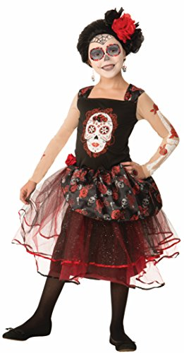 [Forum Novelties Kids Day Of The Dead Rosa Senorita Costume, Multicolor, Large] (Traditional Costumes For Day Of The Dead)