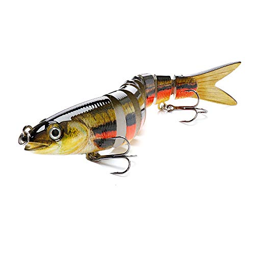 BLure Fishing Lure - Striped Bass Lures - Swimming Multi-Jointed Lure - Bass Fishing Equipment - 3D Eye Popper Crankbait Sinking Bass Swim Baits - 13.5 cm Topwater Lure with Built-in Steel Balls (1)