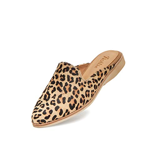 Rollie Women's Madison Mule Camel Leopard Pony, Leopard Print Haircalf Mules Brown Flat Shoes for Women with Open Back, Size 5 US / 36 EU