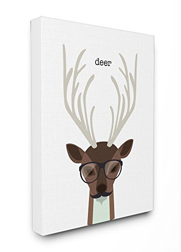 - Stupell Home Décor Typographic Hipster Deer Stretched Canvas Wall Art, 16 x 1.5 x 20, Proudly Made in USA