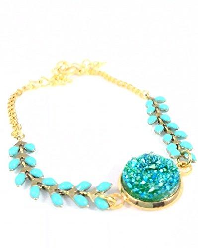 Pizazz Studios Gold Green Blue Druzy Enamel Bracelet