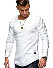 ABUCIYOU Sleeve Pleated Patch Detail Long Sleeve T-Shirt Men Casual Tops Pullovers Fashion Slim Basic Tops